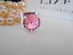 Rose Band Swarovski Crystal Ring / Rivoli Cuff Adjustable Ring / Boho Coctail Ring / Silver Plated Fashion Rings / Birthday Gift #RivoliCrystalRing #SwarovskiRivoli #SwarovskiRing #CoctailFashionRing #RivoliRings #RoseCrystalRing #SwarovskiElements #12mmRivoliRings #BandRings #AdjustableRings Swarovski Crystal Rings, Crystal Jewelry, Adjustable Ring, Boho Rings, Plate Sets, Fashion Rings, Costume Jewelry, Silver Plate, Birthday Gifts