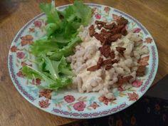"""Halušky v bezlepkovej verzii s vegánskou """"brindzou"""" Tempeh, Tofu, Cabbage, Grains, Rice, Vegetables, Cabbages, Vegetable Recipes, Seeds"""