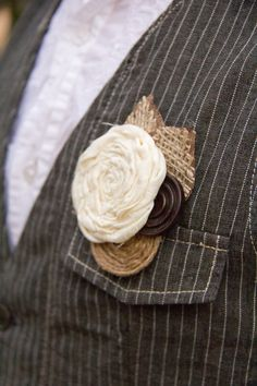 Rustic Wedding Boutonniere- Button-Burlap-Fabric-Natural. $15.00, via Etsy.