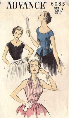 Three gorgeous 1950s Misses' Blouses.  My favorite is the scalloped number.