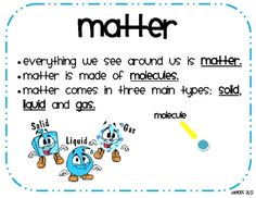 Print these cute and easy to read posters for your solids, liquids, and gases unit. Great for your bulletin boards, science wall, or science folder...