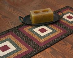 Log Cabin Quilted Table Runner Country Squares