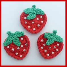 3 Strawberry crochet appliques. Would be cute attached to hair pin @Stephanie Close Close Close Close Close Johnson