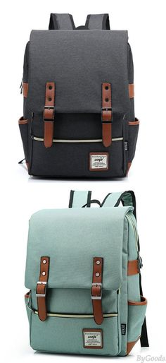 Vintage Travel Backpack Leisure Canvas With Leather Backpack&Schoolbag only $29 !! #backpack #cute #bag #rucksac #vintage #canvas