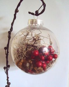 Items similar to Winter Yule Ornament - Woodland Christmas Bauble - Rustic Nature Decor - Red Holiday Decoration - Moss & Forest Berries Orb - Hostess Gift on Etsy Dollar Tree Christmas, Painted Christmas Ornaments, Christmas Baubles, Christmas Crafts, Beach Ornaments, Clear Ornaments, Etsy Christmas, Classy Christmas, Natural Christmas