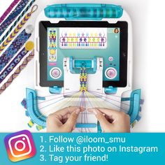 Contest Alert! Let's get social! Follow i-loom on Instagram for a chance to win an i-loom Starter Pack. You could be taking your friendship bracelet making to the next level with your very own i-loom! Here's how to enter: 1. Follow @iloom_smu 2. Like this photo on Instagram 3. Tag your friendship bracelet friend! Contest starts now and ends July 4Th! Check in to see our lucky winner! Use our hashtag, we'd love to post your friendship bracelet pics! #iloomBracelets *Tablet not included.
