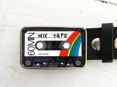 Mix Tape Belt Buckle @ Etsy. Seller: bmused. Get it @ http://www.etsy.com/listing/63035232/cassette-tape-belt-buckle-mix-tape