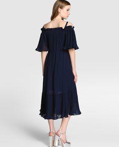 Vestido midi de mujer Tintoretto con volantes plisados …