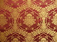 15th century, Medieval burgundy damask fabric with pomegranate yellow brass