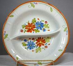 Vintage Flower Power Daisy Porcelain Divided Serving Bowl #VintageHandPainted
