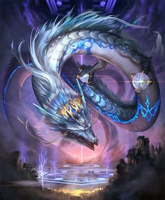 Art by kazashino Fantasy Wizard, Fantasy Races, Fantasy Monster, Mythical Creatures Art, Mythological Creatures, Fantasy Kunst, Dark Fantasy Art, Mythical Dragons, Legendary Dragons
