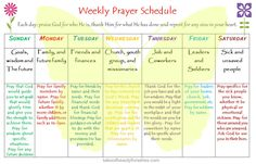 A neat resource I found on a sweet blog called. Tales of Beauty for Ashes. weeklyprayerschedule