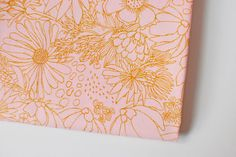 pink floral fabric | gold line drawn flowers | Sahuaro Picks Pale, Morning Walk by Leah Duncan for Art Gallery fabric by the yard, doodle