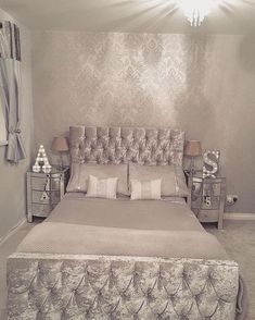 Haven't posted a bedroom photo for a while can't wait to get into t Silver Bedroom, Bedroom Interior, Luxurious Bedrooms, Interior Design Bedroom Small, Classy Bedroom, Bedroom Photos, Bedroom Decor, Silver Bedroom Decor, Stylish Bedroom