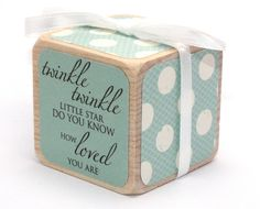 Baby Shower Gift  Shabby Chic Nursery  Baby Block by Booksonblocks
