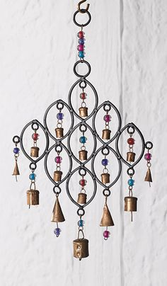 Hand Made Recycled Brass Indian Metal Horse Horseshoe Bells Wind Chime Mobile