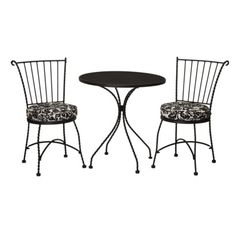 Target Home™ Piazza 3-Piece Wrought Iron Patio Bistro Furniture Set - Black & Off-White Damask.Opens in a new window