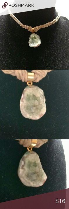 Druzy hemp choker Handmade hemp choker necklace with a sparkling sea green druzy stone. Never worn. ocean eye's Jewelry Necklaces