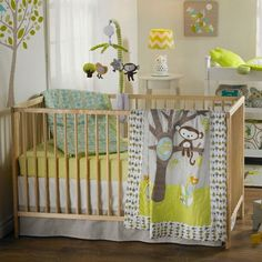 A new spin on a traditional theme! Love the bright green paired with grey! #nursery #animals