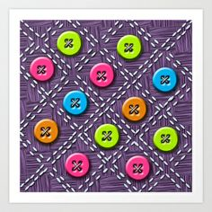 Colorful Buttons and Stitches Art Print by tsuttles - $16.00