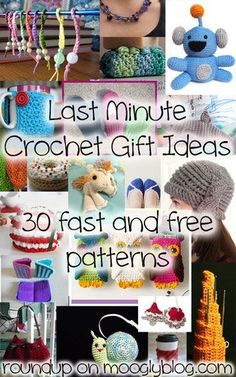 Last Minute Crochet Gifts: 30 Fast and Free Patterns to Make Now! 30 Last Minute Crochet Gift Ideas – lots of great ideas, and they all take less than 200 yards of Crochet Gratis, Crochet Diy, Learn To Crochet, Crochet Hooks, Quick Crochet Gifts, Crochet Ideas, Crochet Stitches, Fast Crochet, Crochet Round