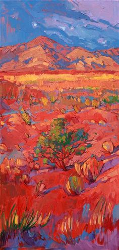 Desert Rainbow - Modern Impressionism | Contemporary Expressionism Oil Paintings Landscapes for Sale by Erin Hanson