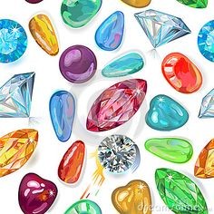 Seamless texture of colored gemstones isolated on white background. Vector Illustration, EPS8