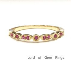 $219 Red Ruby Wedding Band Half Eternity Anniversary Ring 14K Yellow Gold  Art Deco