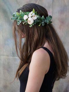 Flower crown wedding ivory flower crown bridal floral crown