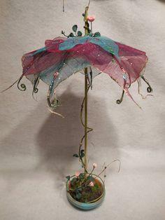 Fairy Garden Umbrella Miniature Patio Display by NewberryThicket