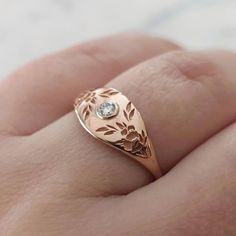 Gold Wedding Rings, Wedding Bands, Gold Jewelry, Fine Jewelry, Alternative Engagement Rings, Alternative Wedding, Floral Crown, Gold Flowers, Signet Ring