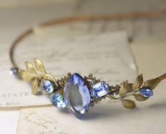 Blue jewel bridal headband vintage brass crystal by mylavaliere