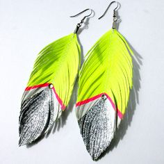 Neon Yellow Silver Glitter Swarovski Earrings