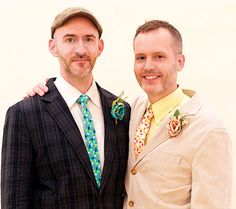 "Brian Juergens and Andy Swist in Williamsburg: ""We actually did it backwards — we had our reception two years ago,"" Juergens said. ""I proposed to Andy when it looked like the law would pass in New York, but then it didn't happen. So we said screw it, and we had a wedding anyway, a big to-do with friends and family. This weekend was amazing as well though. ""Now we have two anniversaries!"" #gay #LGBT #NYC"