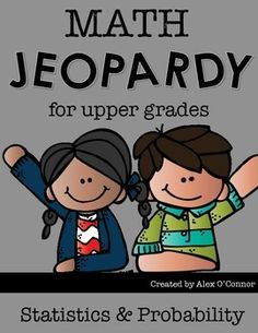 This Math Jeopardy game includes 45 questions related to statistics and probability. Topics Include: Mean, Median, Mode, Range, Central Tendencies, Simple Events, Dependent Events, Sample Spaces, Predictions, and more!