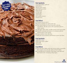 Stork Beat 'n Bake Chocolate Cake - Stork Bake Delicious Recipes - Baking Recipes, Real Food Recipes, Cake Recipes, Yummy Food, Eggless Recipes, Baking Ideas, Yummy Yummy, Delicious Recipes, Tasty