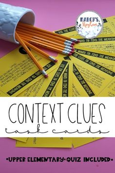 This context clues and vocabulary packet is great for practice for & students. Inside you will find 27 task cards and 2 quizzes to access your students level of understanding when using context clues and word meaning. Vocabulary Practice, Vocabulary Activities, Fluency Practice, Class Activities, Middle School Reading, 4th Grade Reading, Reading Comprehension Strategies, Teaching Reading, Teaching Ideas