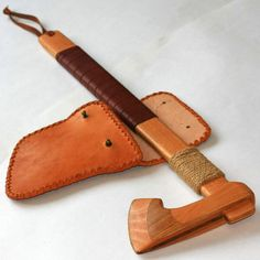 Toy wooden axe with leather sheath by RusWoodToys on Etsy