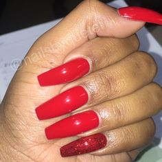 Red coffin shape nails, red glitter