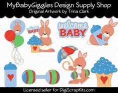 Baby Shower Bunnies Brights Clip Art Digital www.mybabygiggles.etsy.com
