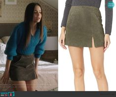 Herb Skirt by Blank NYC worn by Ava Jalali (Sofia Carson) on PLL The Perfectionists Fall Fashion Outfits, Casual Outfits, Cute Outfits, Tv Show Outfits, Pretty Little Liars Fashion, Suede Mini Skirt, Hollywood Fashion, Teenager Outfits, Blue Sweaters
