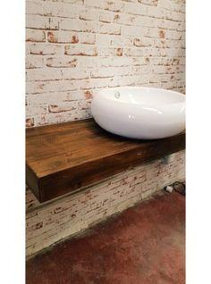 Mensola bagno per lavabo da appoggio in legno massello effetto ...