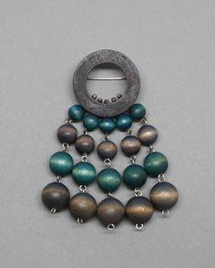 Aarikka Finland Beaded Brooch Beaded Brooch, Wooden Jewelry, Ceramic Artists, Handmade Wooden, Scandinavian Design, Finland, Turquoise Necklace, Pearls, Silver