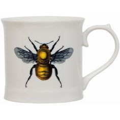 Magpie Curious Mug - Bee (€13) ❤ liked on Polyvore featuring home, kitchen & dining, drinkware, mugs, white mugs and bee mug