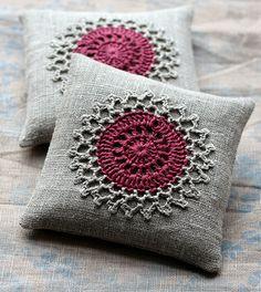 Lavender sachets -- crochet motif -- set of 2 -- claret - would make lovely pincushion design too. Crochet Sachet, Crochet Motifs, Crochet Squares, Crochet Gifts, Crochet Doilies, Crochet Flowers, Crochet Cushion Cover, Crochet Cushions, Burlap Crafts