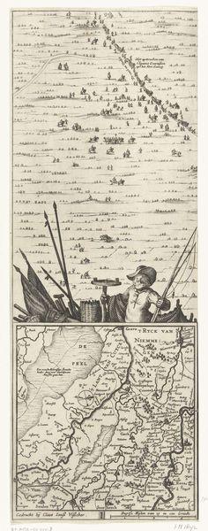 Claes Jansz. Visscher (II)   Kaart van het beleg van Huis te Gennep (zijblad), 1641, Claes Jansz. Visscher (II), 1641   Kaart van Gennep met het Huis te Gennep en omgeving, belegerd en veroverd door het Staatse leger onder Frederik Hendrik, 6 juni - 27 juli 1641. Met de circumvallatielinie van de belegeraars en de hun legerkampen. Linker zijblad met een inzet met een kaart van het groter gebied in Limburg en een vissertje. Onderdeel van een ensemble bestaande uit een titel in 4 stroken, de 4…