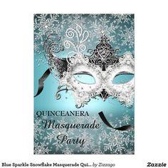 Blue Sparkle Snowflake Masquerade Quinceanera 5x7 Paper Invitation Card
