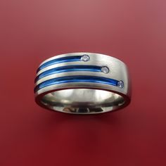 Titanium and Three Staggered Diamond Ring with Color Inlay Made to Any Size