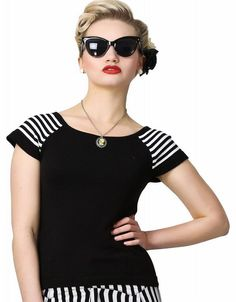Collectif Suzy Striped Knitted Top CSS140107 Collectifs Suzy Striped Knitted Top is a sweet retro top in black, with white stripe on the sleeves. Jazz it up with fun accessories, and you can wear it in so many ways - wear a rockabilly skirt with http://www.comparestoreprices.co.uk/fashion-clothing/collectif-suzy-striped-knitted-top-css140107.asp