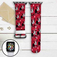 Minnie Mouse Disney Custom Apple Watch Band Leather Strap Wrist Band Replacement